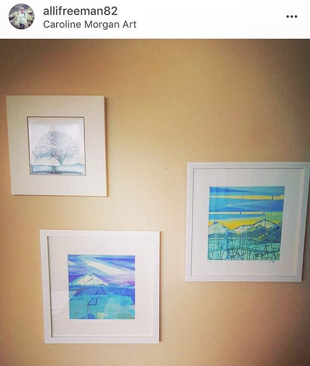 Look at this little gallery wall @allifreeman82 has started of my work!! ☺️☺️ ... Her favorite views in Victoria happen to be mine as well! . . . . . . #carolinemorganart #artist #contemporaryart #abstractart #inspiration #instaart #abstract #art #landscape #painting #modern #interiordesign  #instaartist #drawing #love #creative #classic #decor #sunset #mountains #design #colour #wallart #sale #instalove #designer #pennsylvaniaartist #artgallery #homedecor #homesweethome