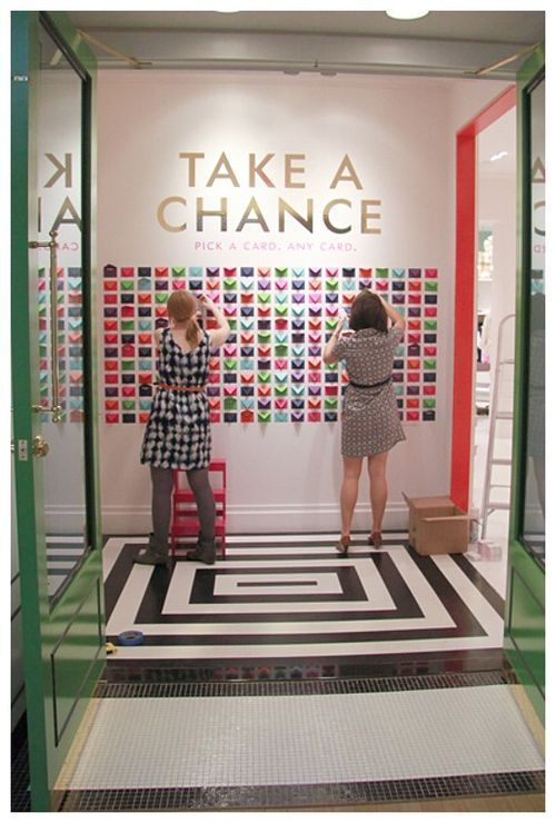 "At the Kate Spade x Cheree Berry collaboration celebration event, guests were encouraged to ""Take A Chance"" with Kate Spade ""dares"" like  eat cake for breakfast, smile at strangers, & sing outside the shower.  Guests were also invited to write their own and put them in the envelopes for others."