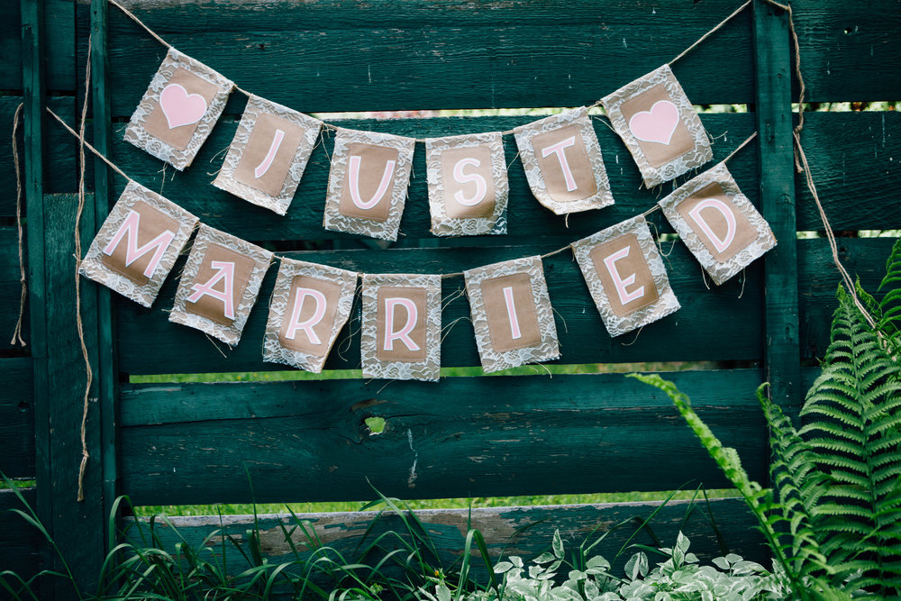 """Just Married"" Burlap Sign"