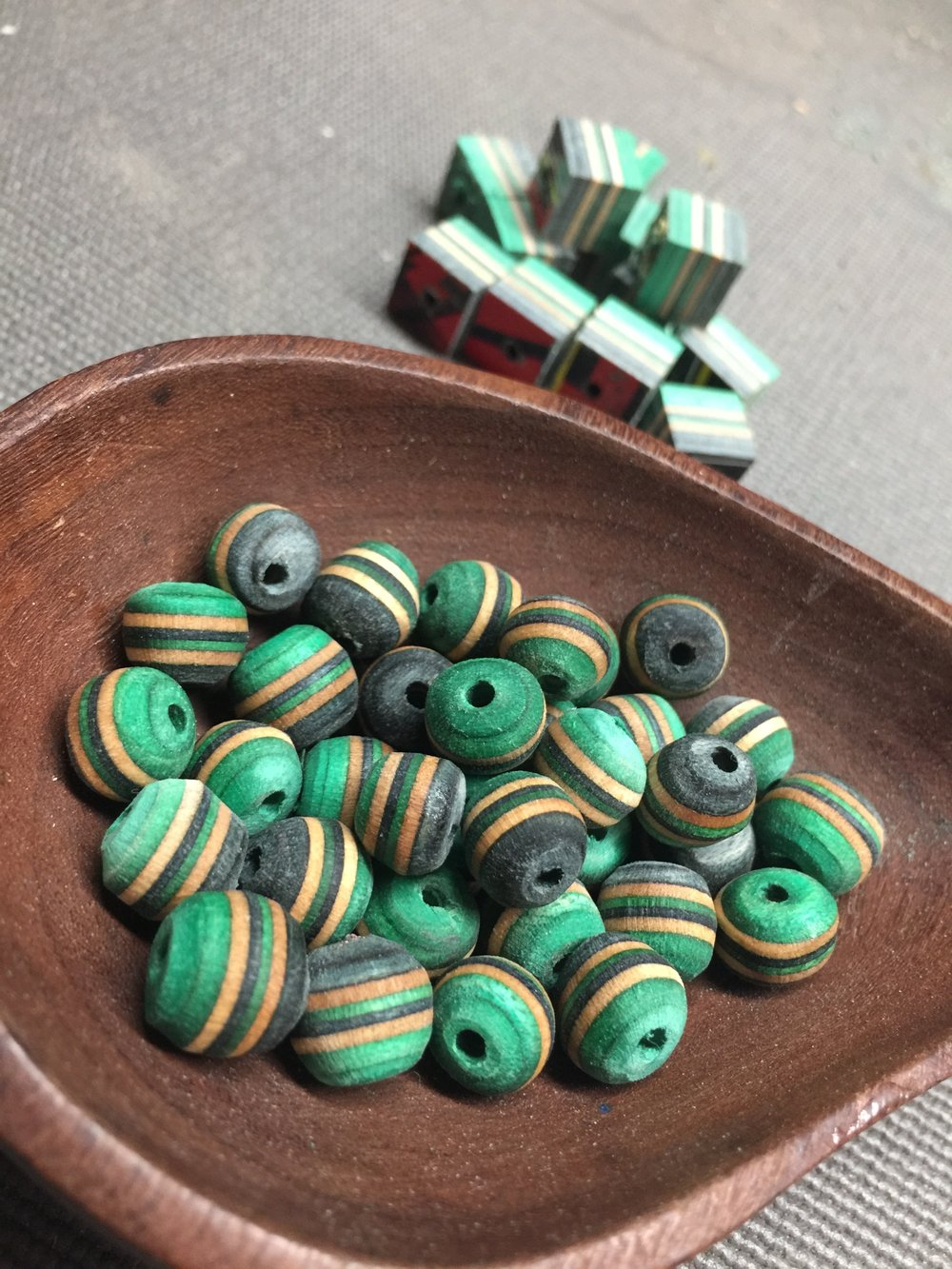 recycled skateboard beads