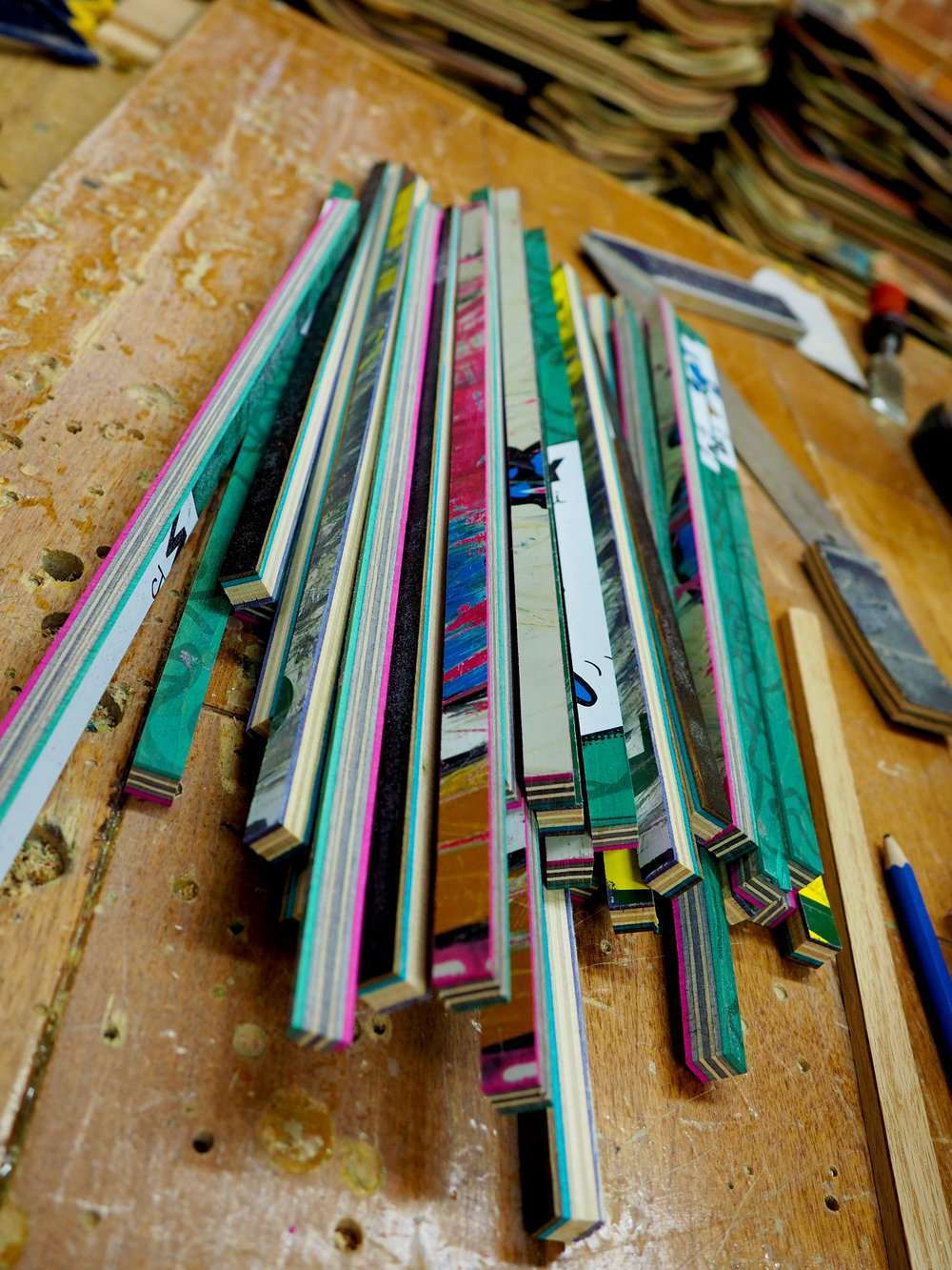 recycled skateboards cut into strips