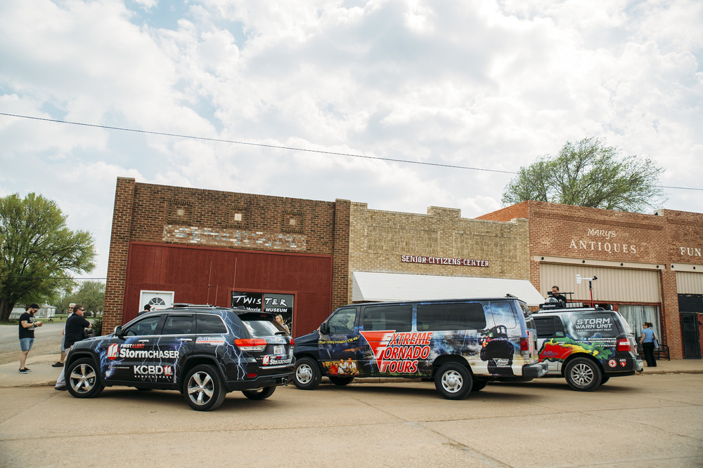 Storm chasers take a break at the Twister Movie Museum in Wakita, Oklahoma