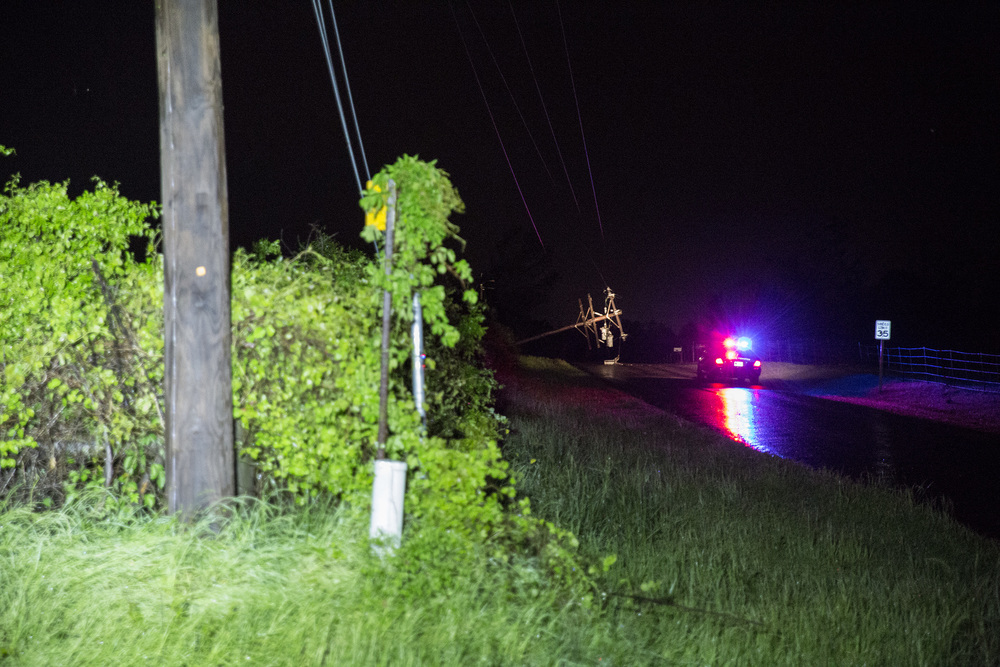 Downed power lines in Longview, Texas on April 9, 2015