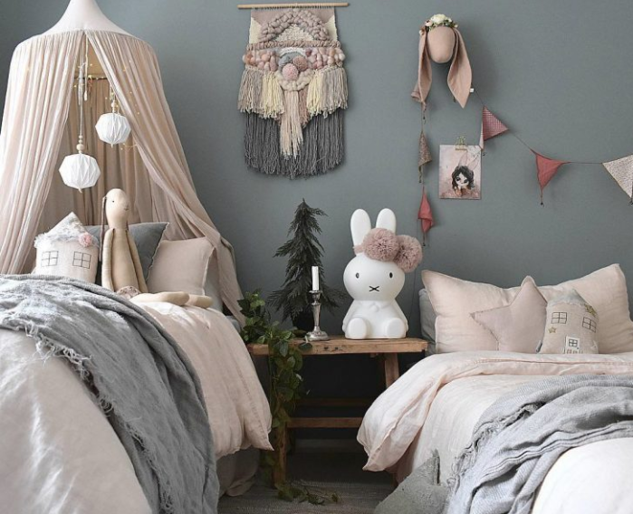 Calming greys and powder pink for this gorgeous room designed by Mel @Bellalulu_styling