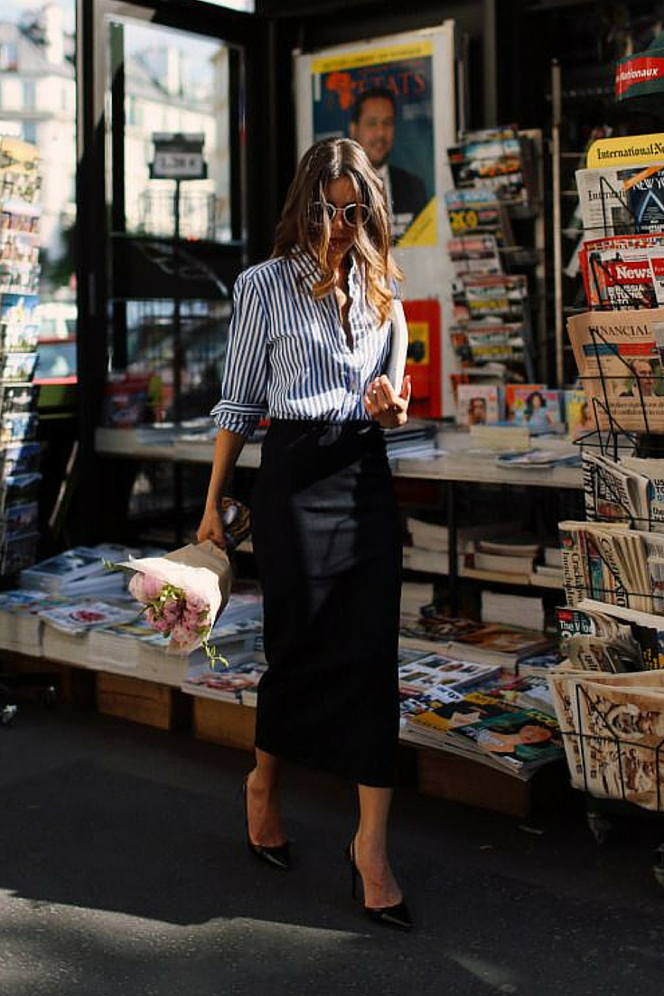 sneakers and pearls, street style, black pencil skirt over the ankle with a business shirt for a mix of feminine and masculine look, trending now.png