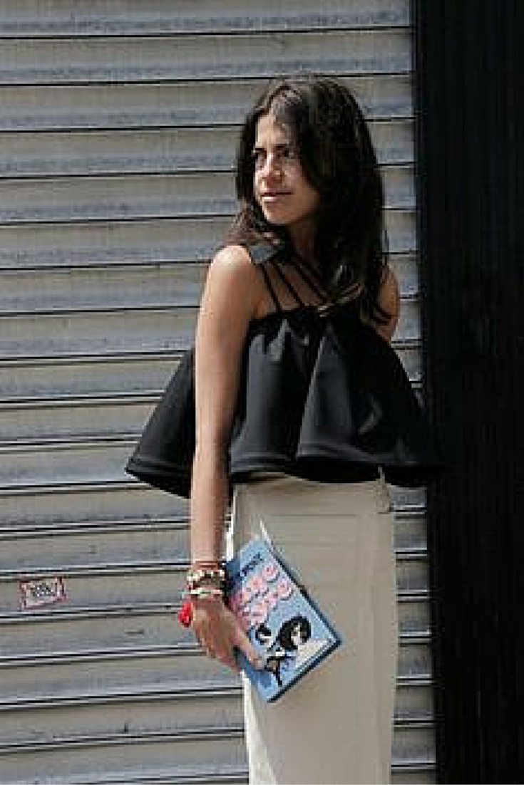 sneakers and pearls, street style, frilly black top, the queen of mix and match, Leandra,  trending now.png