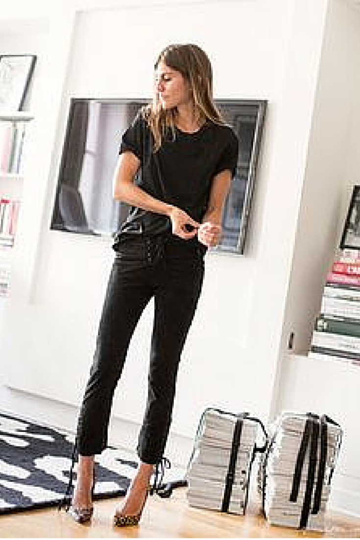 sneakers and pearls, modern houses, total black look for a rock chic look and pumps to make the look softer and girly, trending now.png