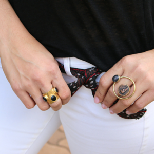sneakers and pearls, street style, Aztec belt, coin ring with black onyx, gold ring with black onyx, ethnic style blends with rock chic, trending now.png