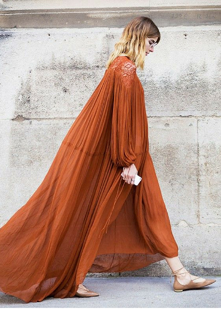 sneakers and pearls, street style, Chloe long dress, Aquazzura shoes, trending now