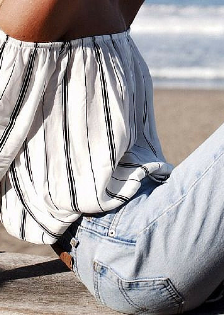 sneakers and pearls, beach look, denim pants and off the shoulder stripy top, trending now