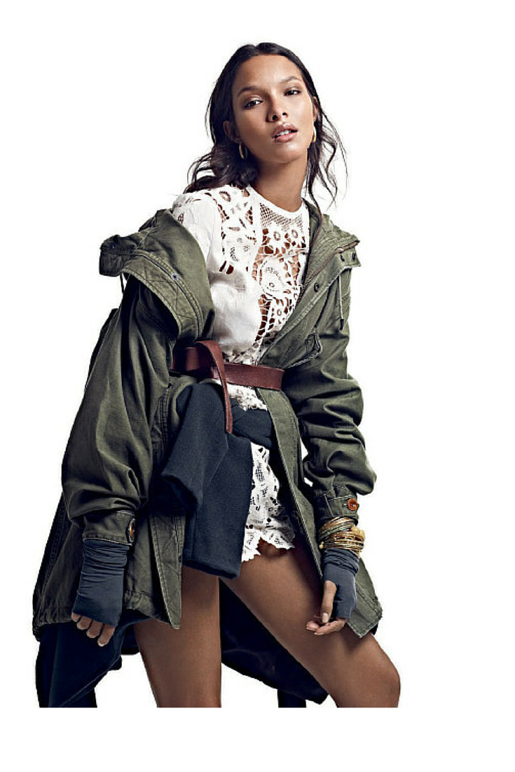 sneakers and pearls, mix and match, khaki parka, white lace dress, brown leather belt, trending now, vickynspiration.png