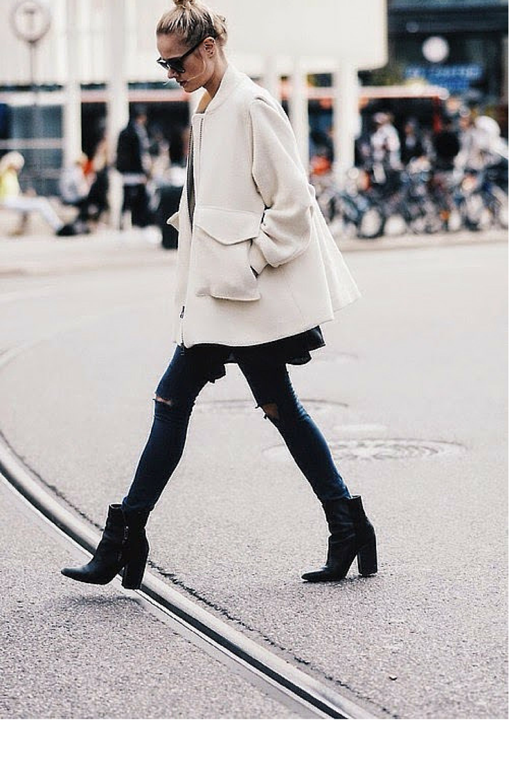 sneakers and pearls, streetstyle, fashion, trending now, black ripped jeans,black ankle boots, white coat,fall in whatever.png