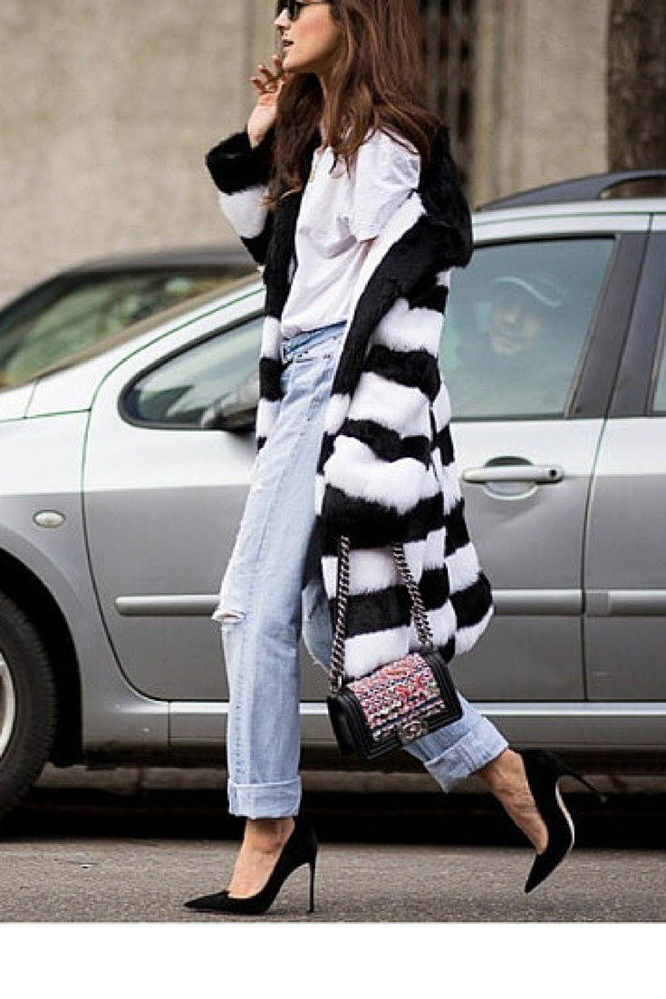 sneakers and pearls, streetstyle, fashion, trending now, black and white fur coat,chanel bag,fall in whatever.png