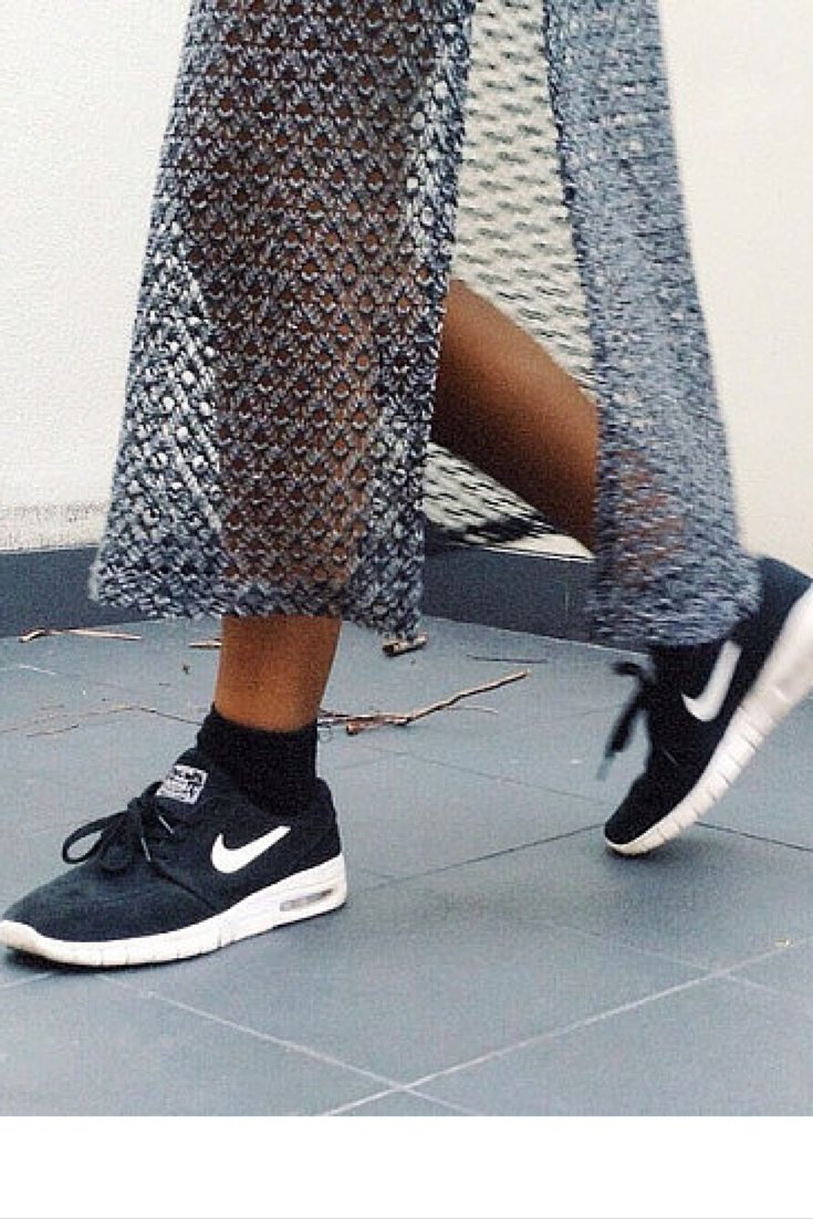 sneakers and pearls, streetstyle, black Nike sneakers, sheer skirt, trending now, vickynspiration.png