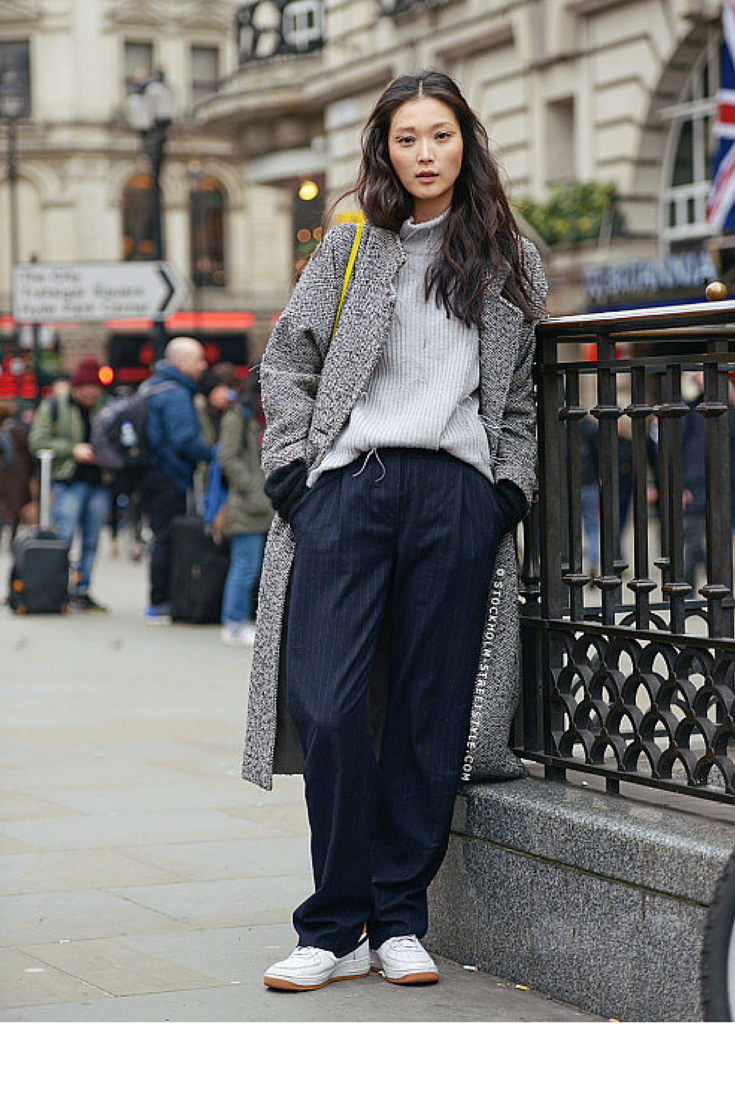 LONG GREY COAT WITH WIDE PANTS
