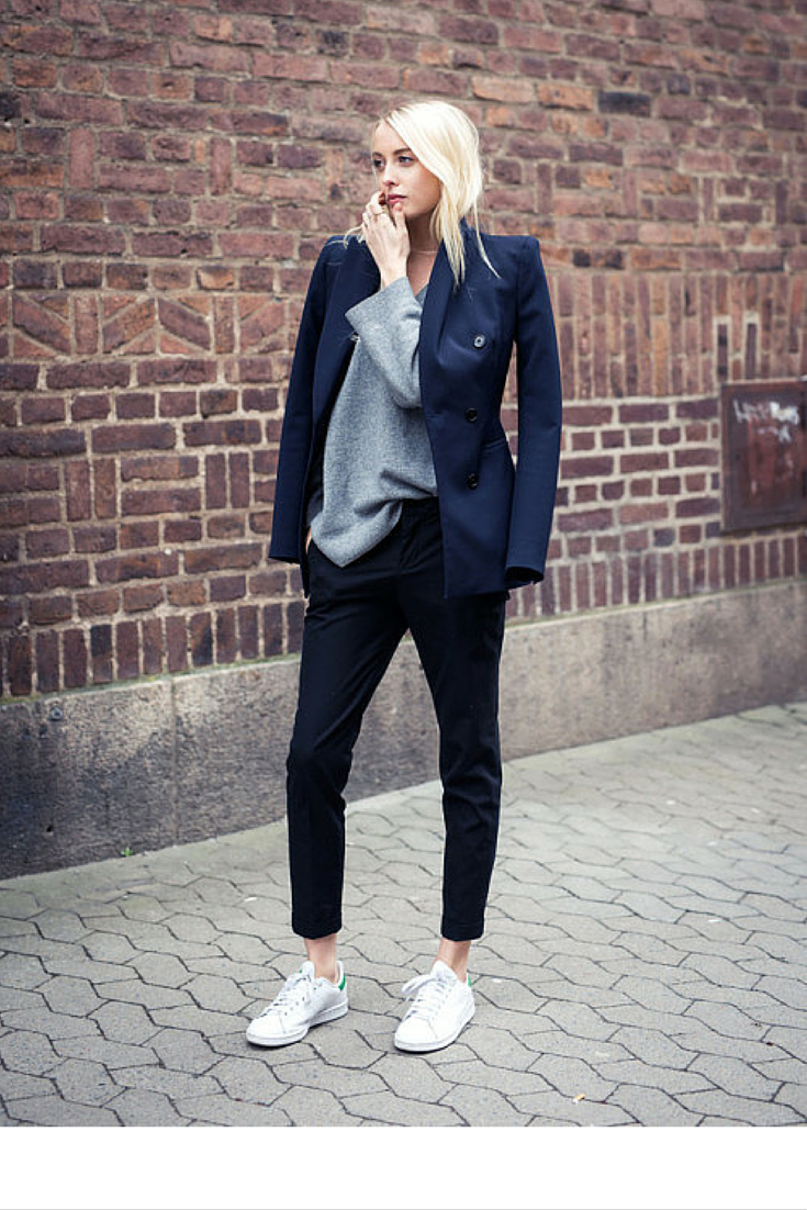 sneakers and pearls, streetstyle, fashion, trending now, blue blazer.grey jumper, black cropped pants,fall in whatever.png