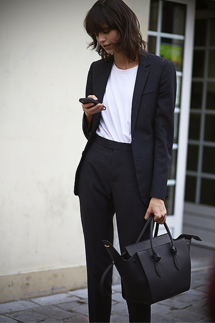 BLACK SUIT WITH WHITE TEE