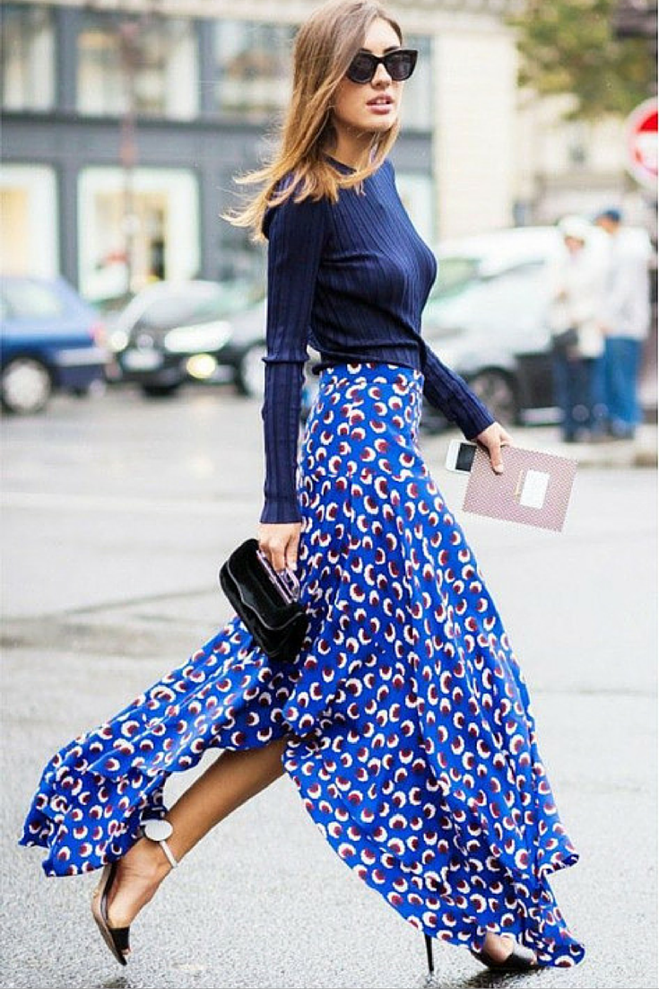 sneakers and pearls, streetstyle, chic and elegant, trending now, printed long skirt,fashion, fall in whatever.png