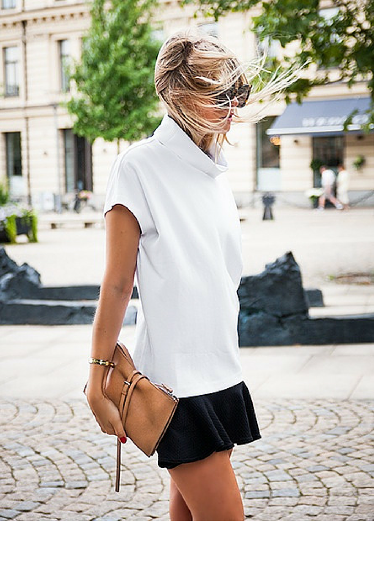 sneakers and pearls, street style, white stop over a fluid black skirt for a girly look, trending now, ellewatmough.png