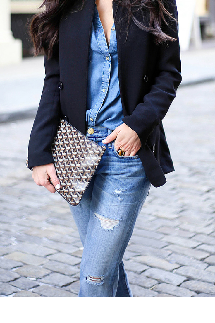 sneakers and pearls, street style, to break denim on denim throw a navy blazer, Goyard is a must, trending now,misszeit.png