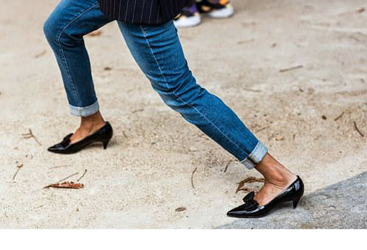 sneakers and pearls, street style, denim pants with black kitten heels, trending now.png