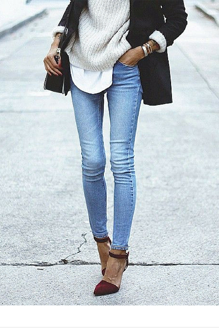 sneakers and pearls, fitted jeans with a black blazer, layer under a shirt and a knit, trending now, instagram.png