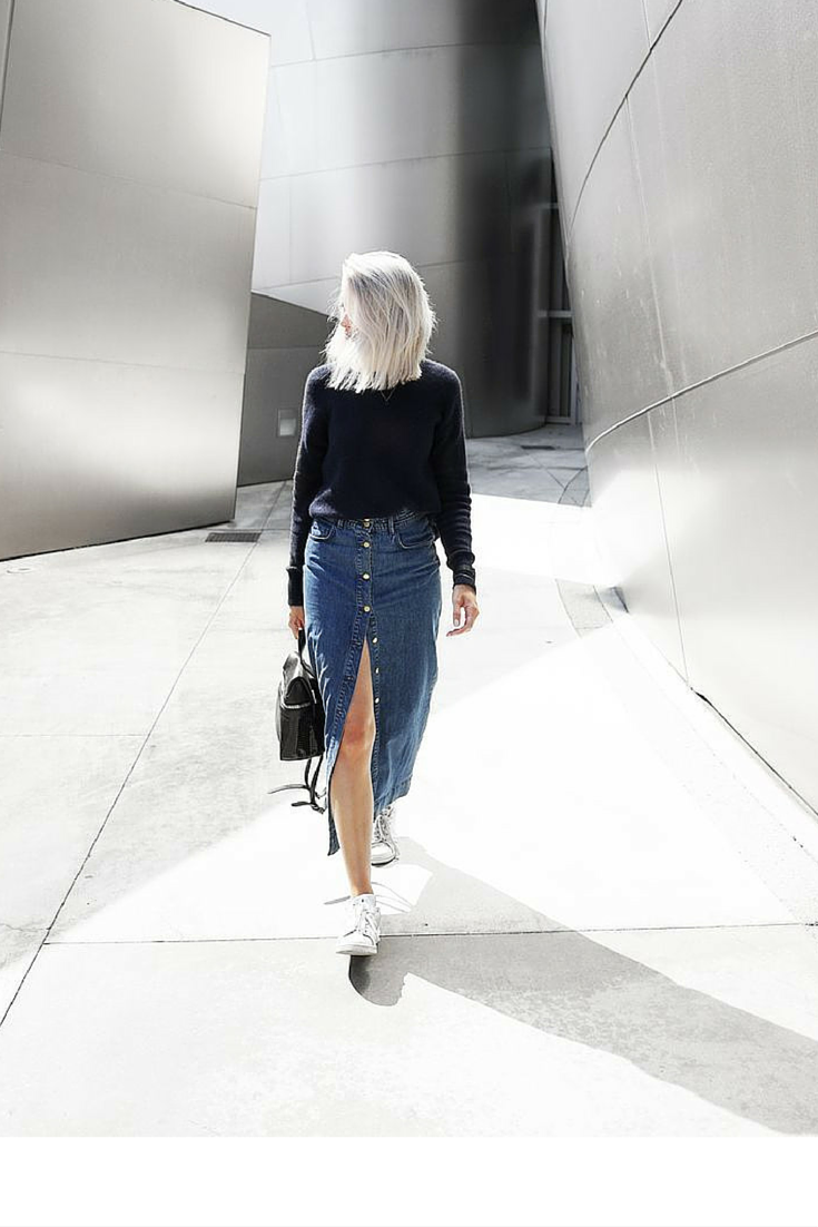 sneakers and pearls, street style, long denim skirt with plain sneakers, trending now, mydublo.png