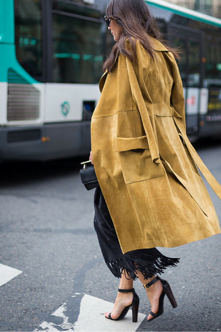 sneakers and pearls, street style, suede long coat with a long skirt and high heels, trending now,lovely--delight.png