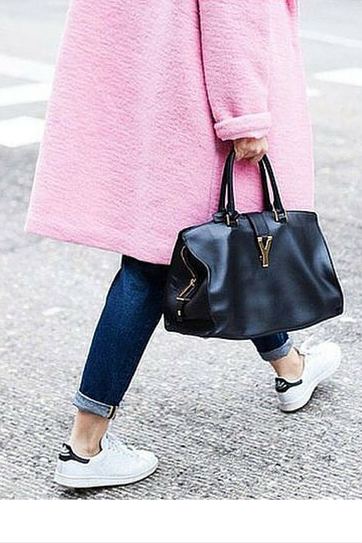 sneakers and pearls, streetstyle, fashion, trending now, pink oversized coat, Stan Smith's, Yves Saint Laurent bag,fall in whatever.png