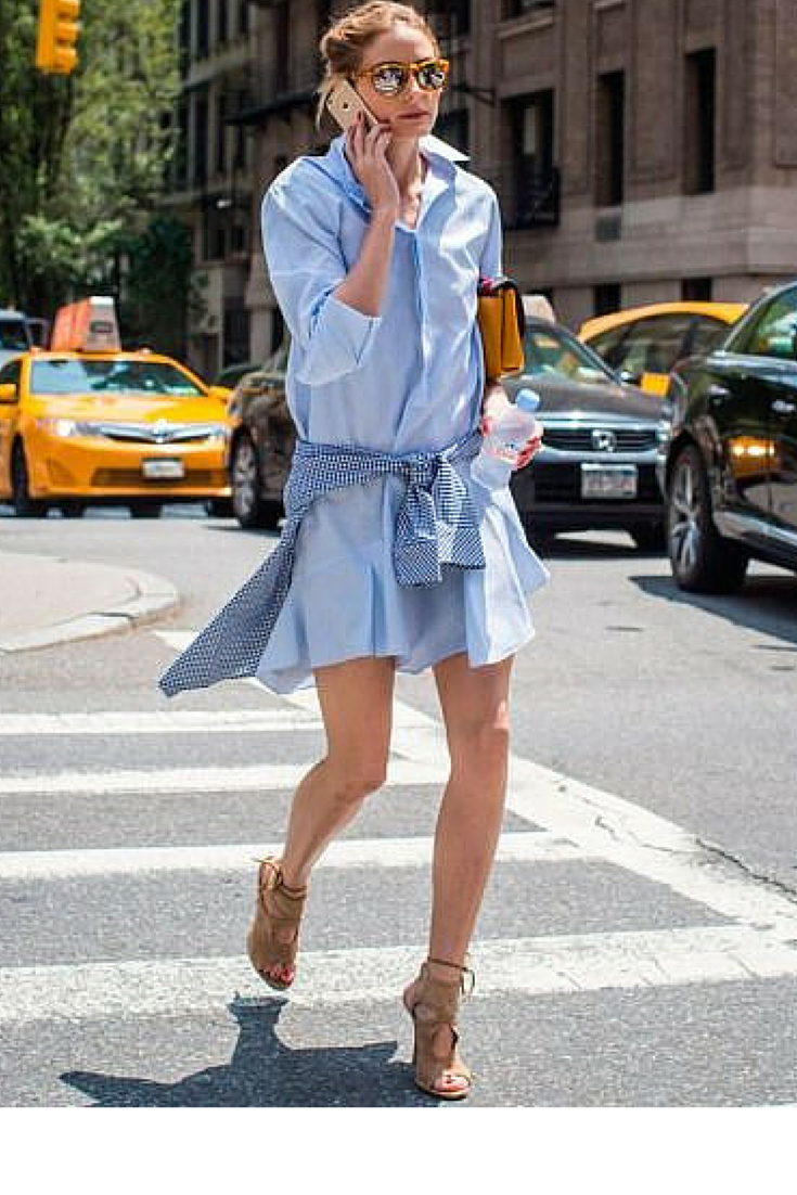 sneakers and pearls, street style, wear a cotton shift dress with heels for a relaxed yet elegant style, make it look grungy with a cotton shirt wrapped around your waist, trending now.png