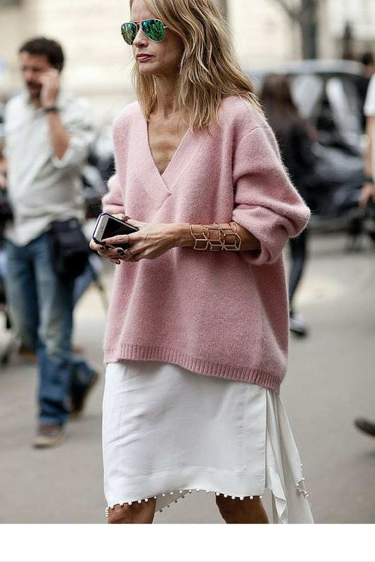 sneakers and pearls, street style, wear an oversized knit over a fluid fine skirt slip, trending now, popsugar.png