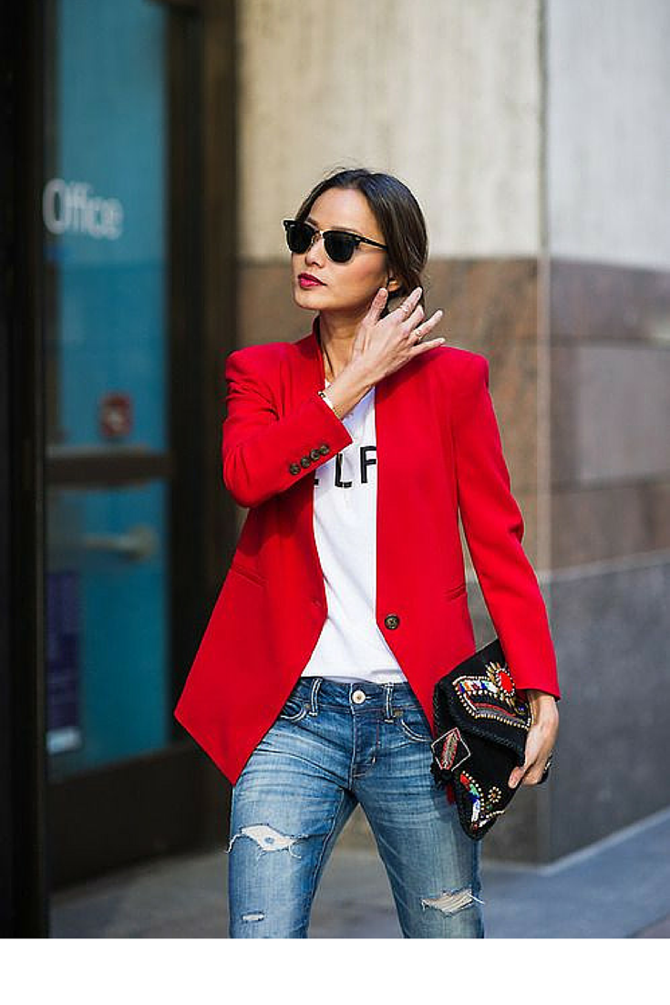 sneakers and pearls, street style, team up your jeans and tee with a bold colour blazer, trending now.png