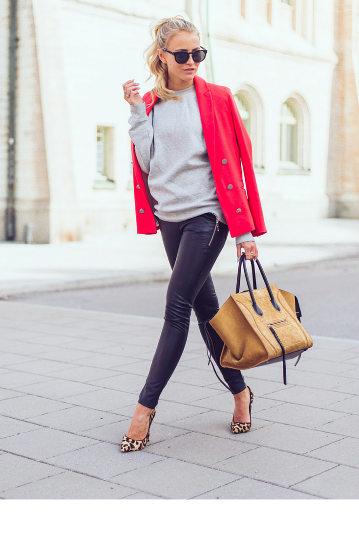 sneakers and pearls, street style, team your black leather pants with a grey sweatshurt and a bold coloured blazer, finish the look with tan or animal print details, trending now,misszeit.png