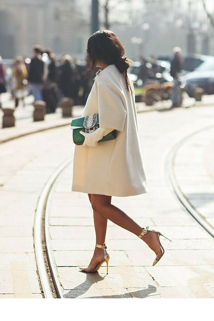 sneakers and pearls, street style, twear an oversized feminine coat with a dress and heels to give yourself a mysterious aura, trending now.png