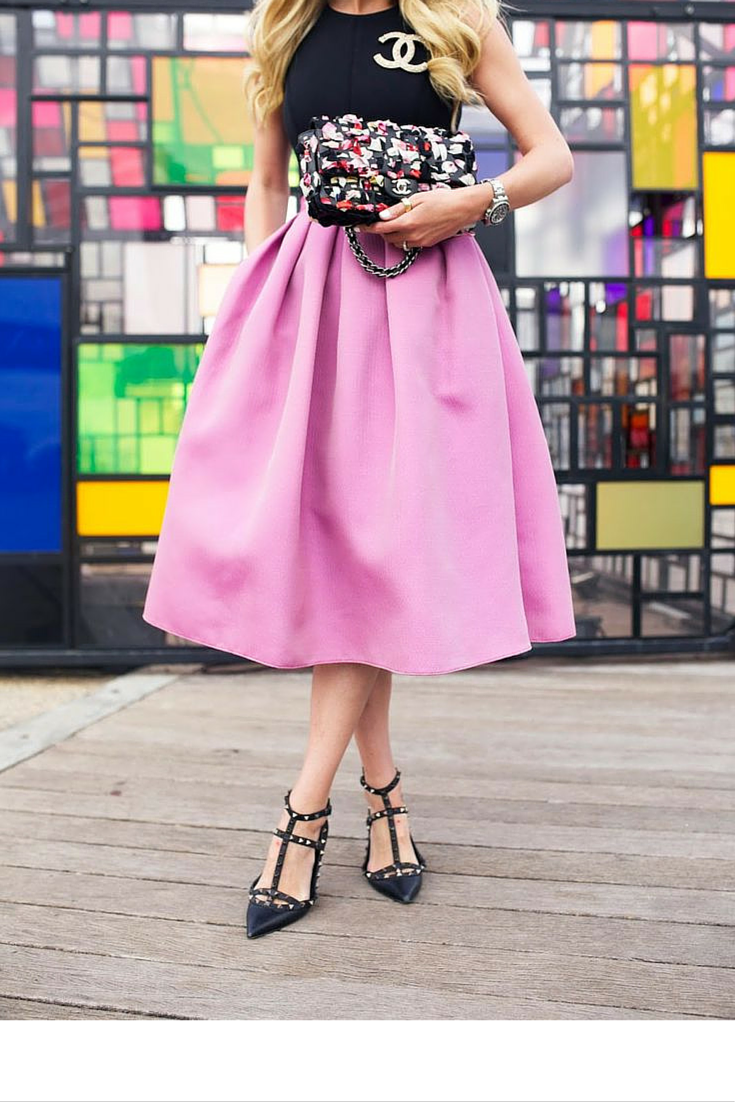 sneakers and pearls, street style, full skirts in longer lengths, trending now.png