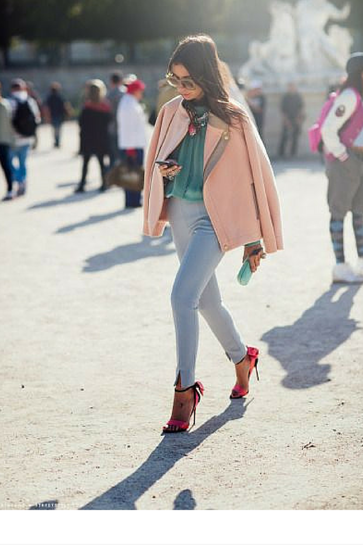 sneakers and pearls, street style, pastel tones can be paired up with bright accessories to give life to an otherwise maybve dull or expected outfit, trending now.png