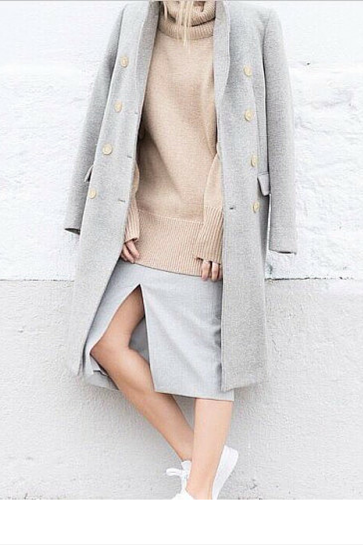 sneakers and pearls, streetstyle, grey skirt, grey coat, camel jumper, trending now, la cool et chic.png