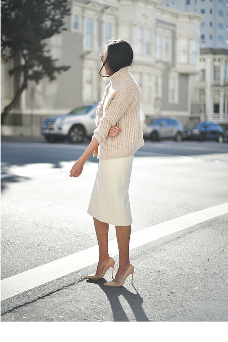 sneakers and pearls, street style, wear a chunky knit over a pencil skirt for a bold way to go through winter at the office, trending now, eelewatmough.png
