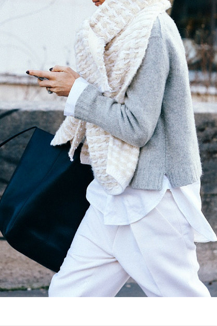sneakers and pearls, street style, wear white in winter and mix it with grey hues and black for an edgier look, trending now, ellewatmough.png
