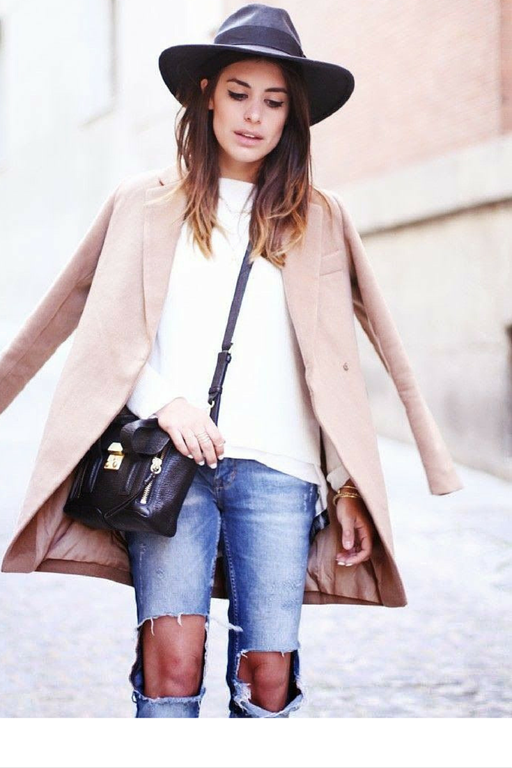 sneakers and pearls,street style,  white top with knee torn jeans and a coat for an everyday comfort with elegance, trending now, ellewatmough.png