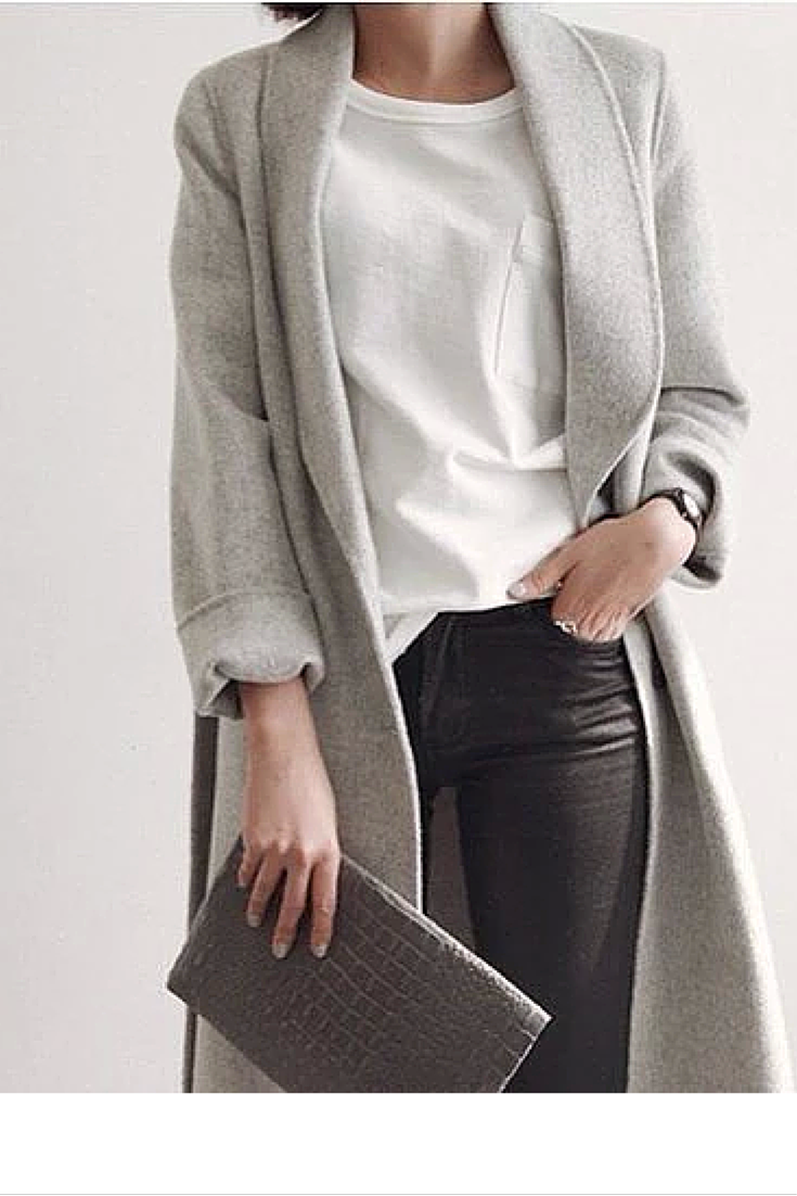 sneakers and pearls, grey coat, white tee, black jeans, grey clutch bag, trending now, miss zeit.png