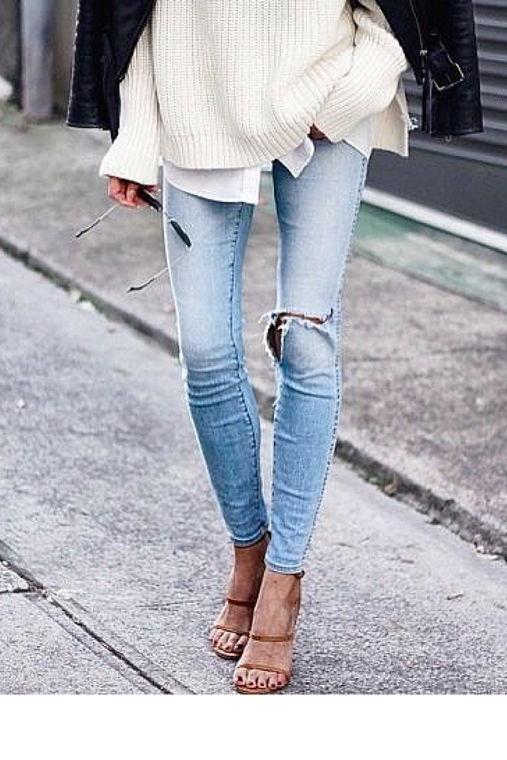 sneakers and pearls, street style, wear your fitted jeans with heels for a cool look, rip old jeans you no longer wear, trending now.png