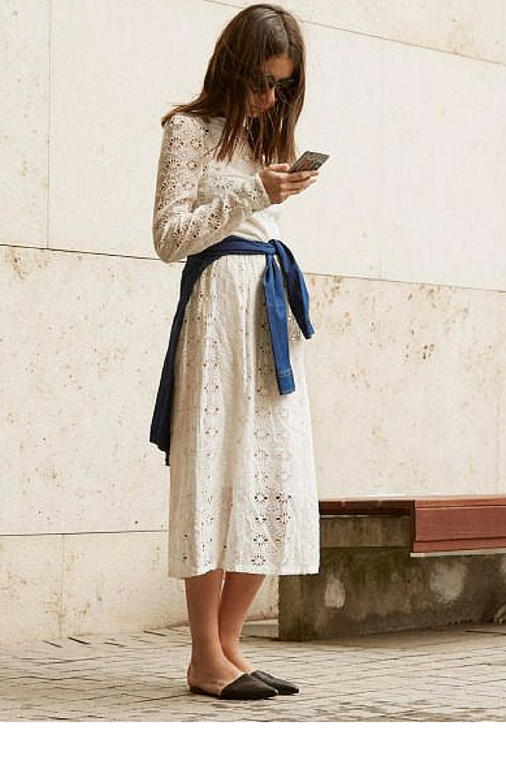 sneakers an dpearls, street style, black flat mules with a white lace dress, trending now.png