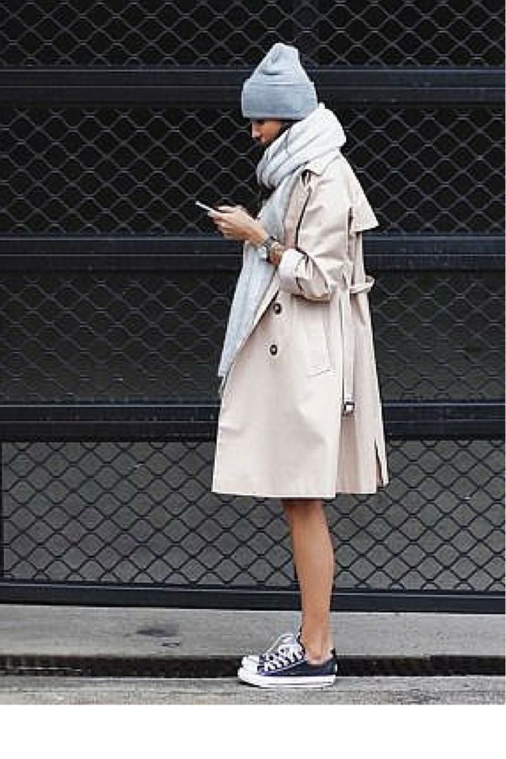 sneakers and pearls, street style, wear a trench with sneakers for a sport lux look, trending now.png
