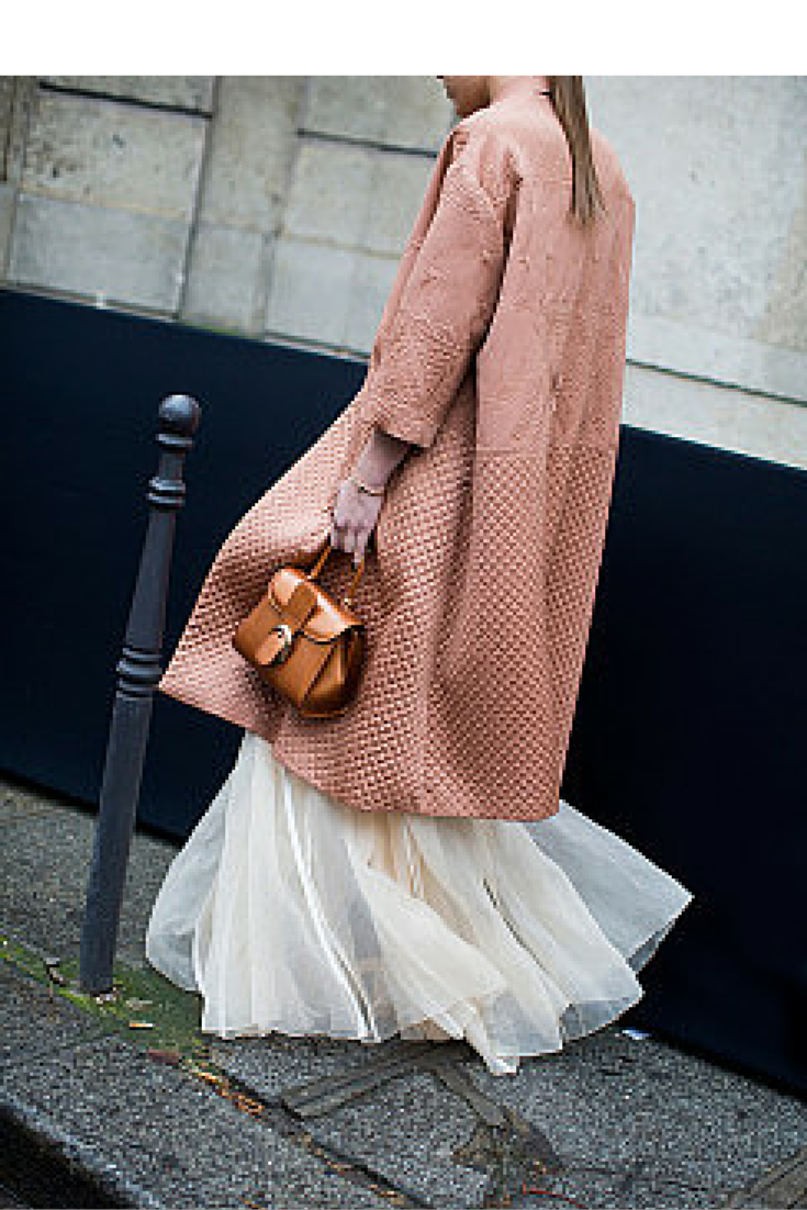 sneakers and pearls, streetstyle,pink coat, long beige tule skirt, trending now, black pill to be wild.png