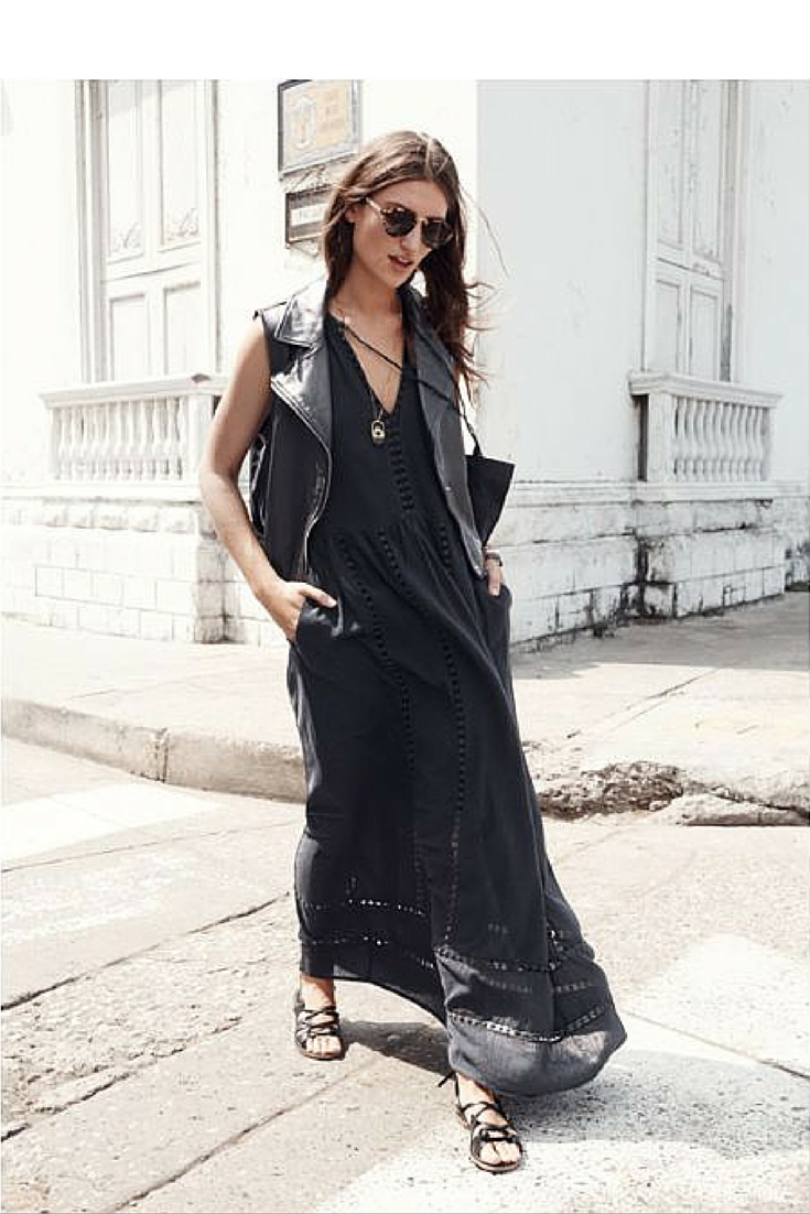 sneakers and pearls, street style, wear a vest over a bohemian dress to give it a rock edgy look, flat gladiators is a must have, trending now.png