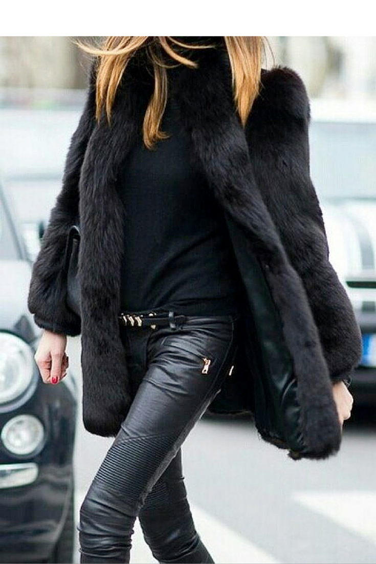 sneakers and pearls, total black look with leather pants and fur jacket, team the look with red nails and lips, trending now.png
