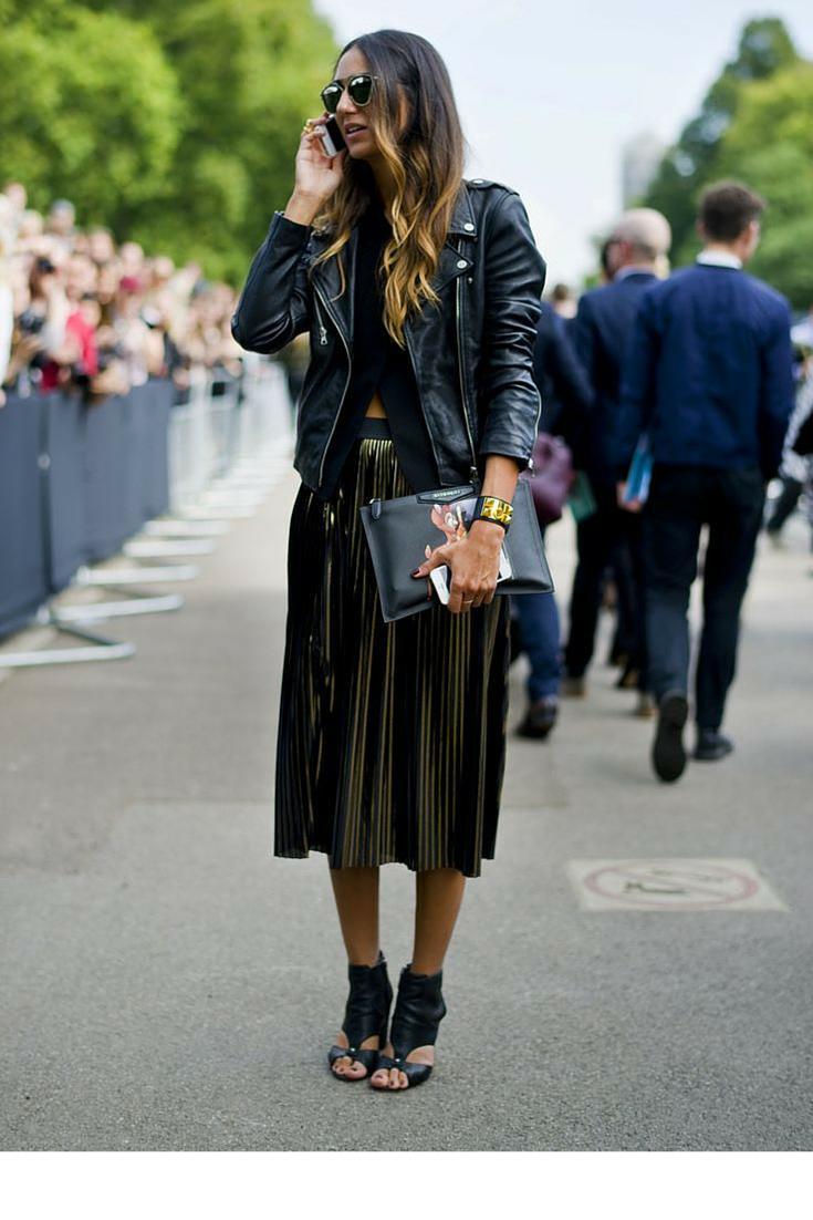 sneakers and pearls, street style, wear a pleated skirt with a black leather jacket for a rock chic look, trending now .png