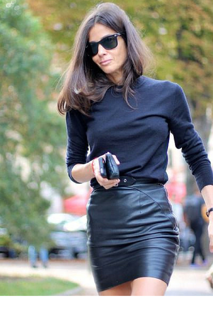 sneakers and pearls, street tsyle, total black look with a leather skirt for a rock chic style, trending now .png