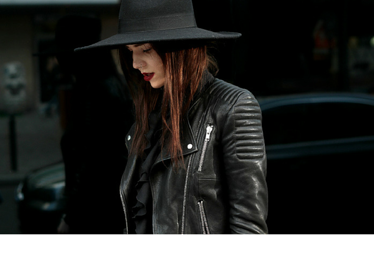 sneakers and pearls,black leather jacket, black felt hat, streetstyle, trending now, miss zeit.png